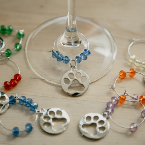 Set of 6 Wine Glass Paw Charms