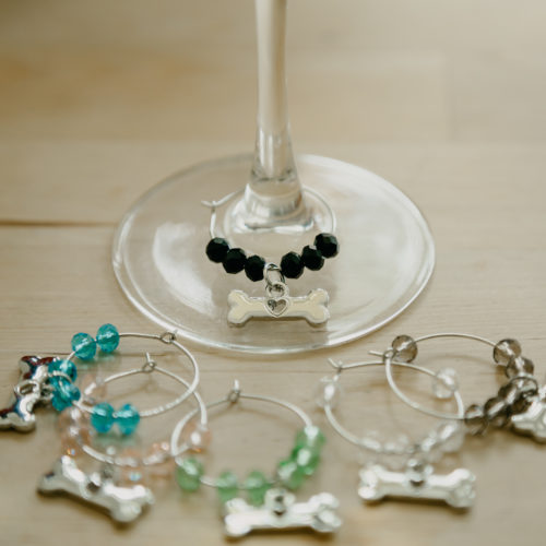 Set of 6 Wine Glass Bone Charms