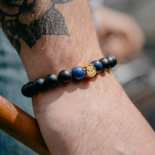 Thin Blue Line K9 Gold Badge Charm With Blue And Matte Black Bead Bracelet: Helps Provide Body Armor for K9 Police Dogs