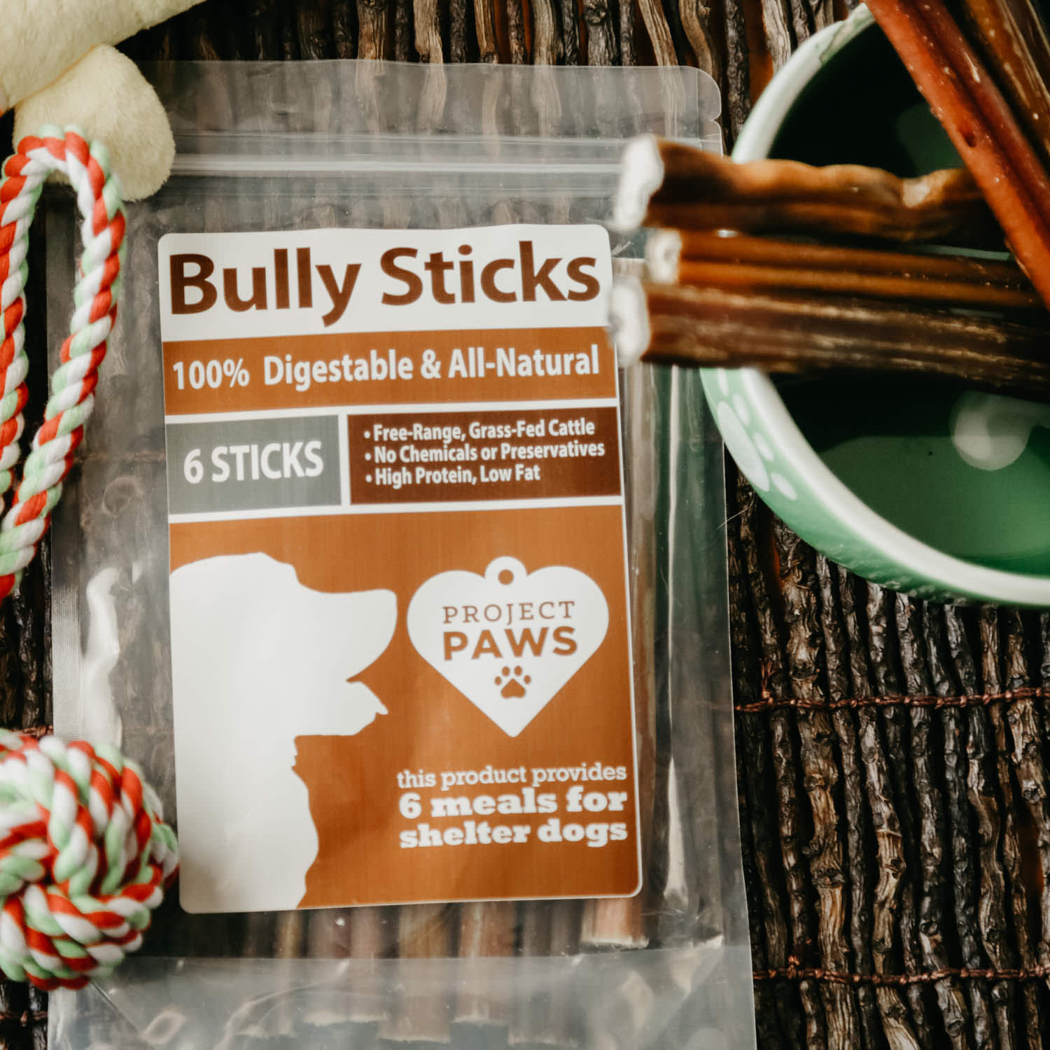 all natural free range grass fed bully sticks every stick gives a meal to a shelter dog 6. Black Bedroom Furniture Sets. Home Design Ideas