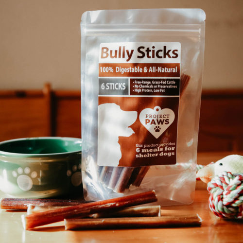 All-Natural Free-Range & Grass-Fed Bully Sticks: Every Stick Gives a Meal to a Shelter Dog (6 pack)