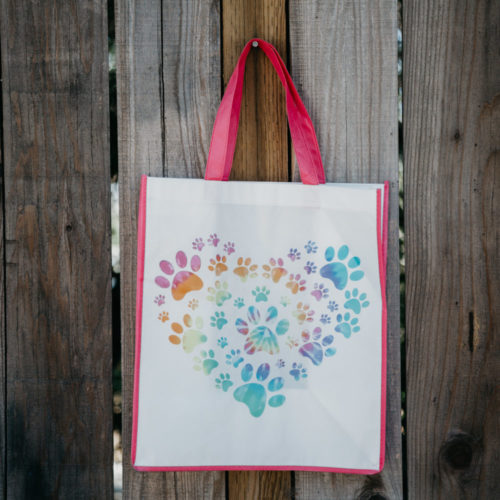 Grocery Bag Heart Paw Tie Dye – Pink Trim