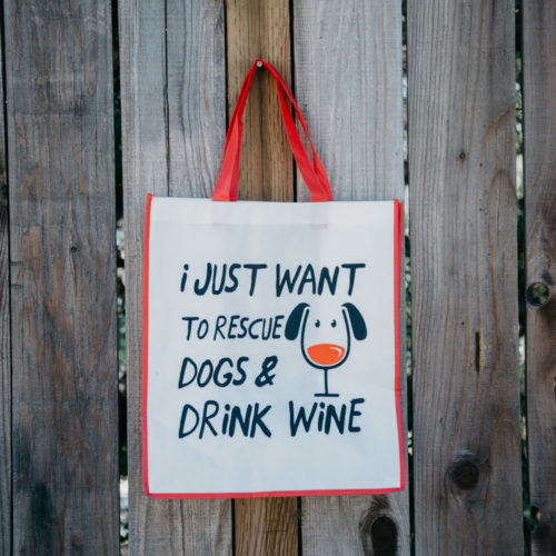 Grocery Bag I Just Want to Rescue Dogs – Red Trim