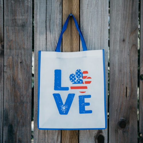 Grocery Bag Love Paw USA – Navy Blue Trim