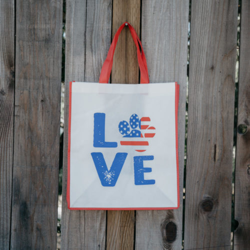 Grocery Bag Love Paw USA - Dark Red Trim