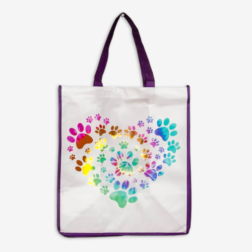Heart Paw Tie Dye Purple Trim Grocery Bag