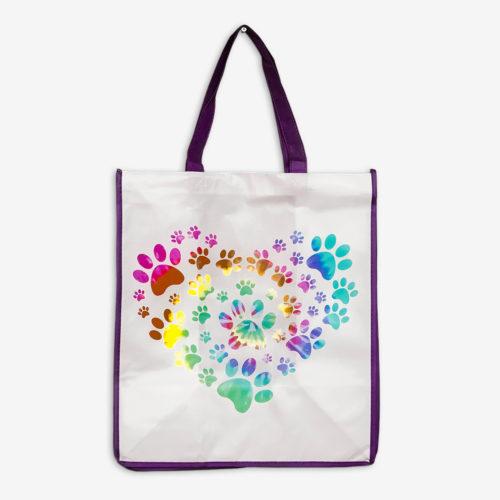 Heart Paw Tie Dye Purple Trim Grocery Bag