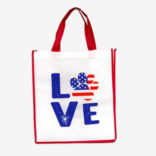 Grocery Bag Love Paw USA – Dark Red Trim
