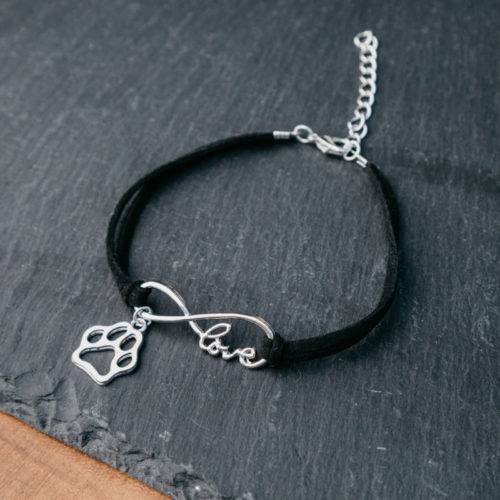 Infinity Love Paw Vegan Leather Bracelet