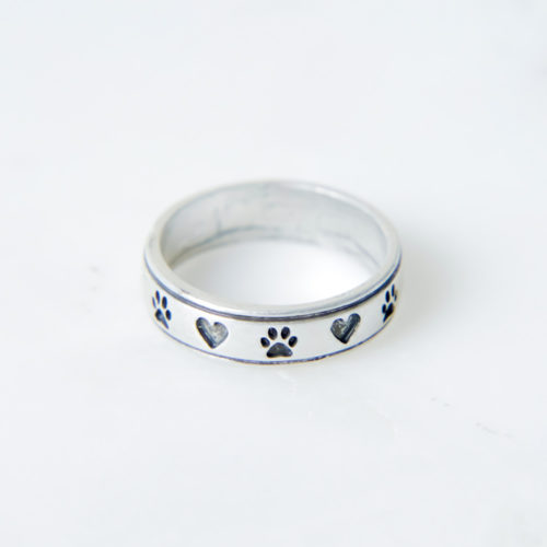 Antique Silver Paw Next To My Heart Ring