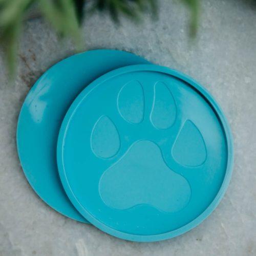 Turquoise Round Paw Coaster