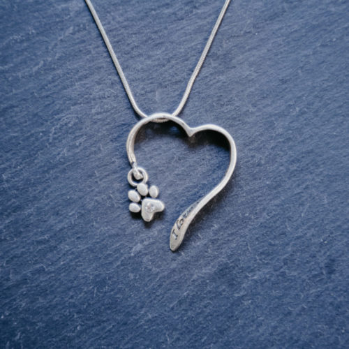 I Love You More Open Heart Paw Charm Necklace