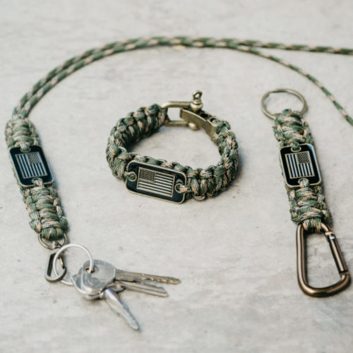 Hero Pack: Camo Paracord Bracelet, Keychain, & Lanyard: Each Purchase Helps Pair a Veteran with a Companion Dog