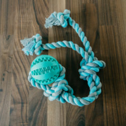 FlossyTossy™ Natural Cotton & Rubber Rope Ball Toy - Flosses Dogs' Teeth Through Play
