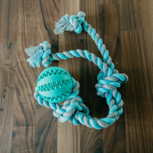 FlossyTossy™ Natural Cotton & Rubber Rope Ball Toy – Flosses Dogs' Teeth Through Play