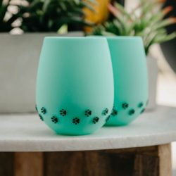 Green with 3D Black Paw Prints Silicone Wine Cups (2 pack)