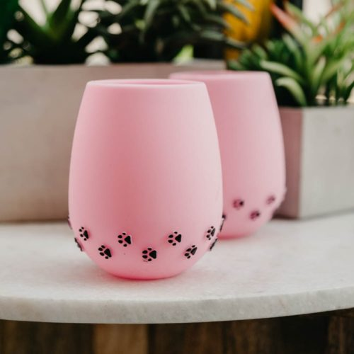Pink with 3D Black Paw Prints Silicone Wine Cups (2 pack)
