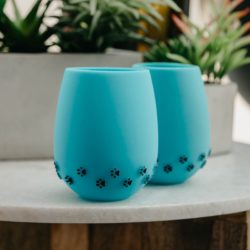 Blue with 3D Black Paw Prints Silicone Wine Cups (2 pack)
