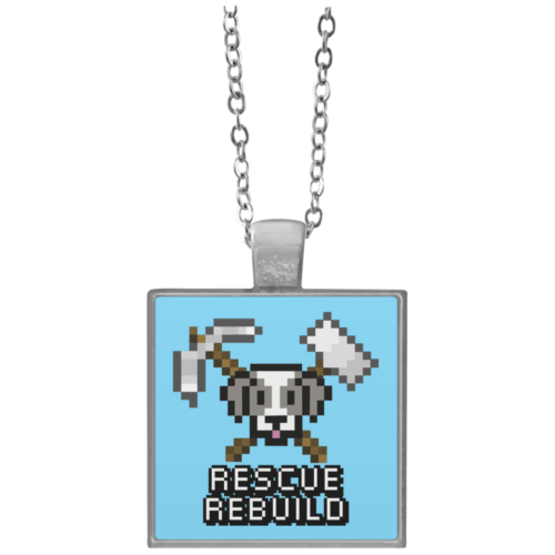 Rescue Rebuild 8 Bit Square Necklace