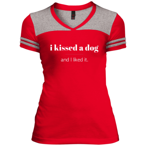 I Kissed A Dog Varsity V-Neck T-Shirt