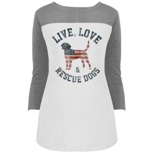Live, Love, Rescue Colorblock 3/4 Sleeve