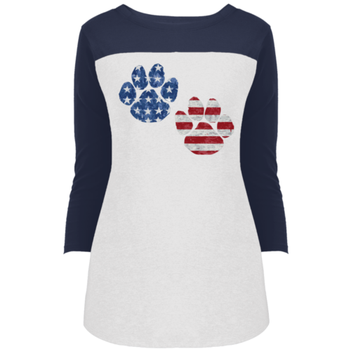 Flag Paws Colorblock 3/4 Sleeve