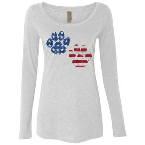 Flag Paws USA Ladies Scoop Neck Long Sleeve Shirt