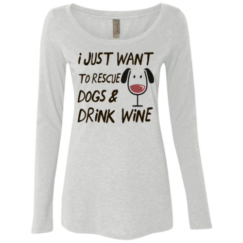 Drink Wine & Rescue Dogs Fitted Scoop Neck Long Sleeve