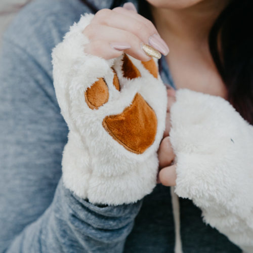 Fuzzy Paw Fingerless Gloves