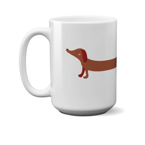 Dachshund Stretch 15 oz. White Mug
