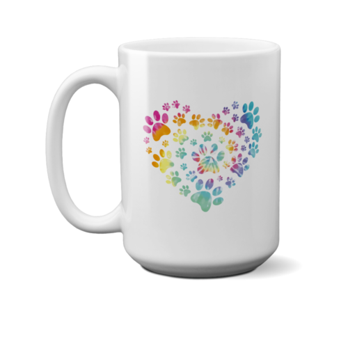 Heart Paw Tie Dye 15 oz. White Mug