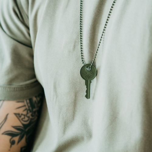 "Matte Army Green ""Honor"" Key Necklace - Helps Pair Veterans with a Service Dog or Shelter Dog"