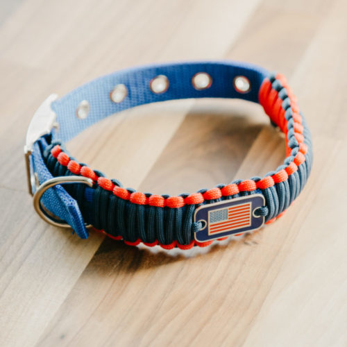Adjustable Red Blue Paracord Dog Collar