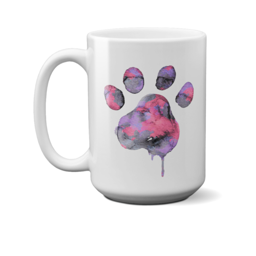 Watercolor Paw 15 oz. White Mug