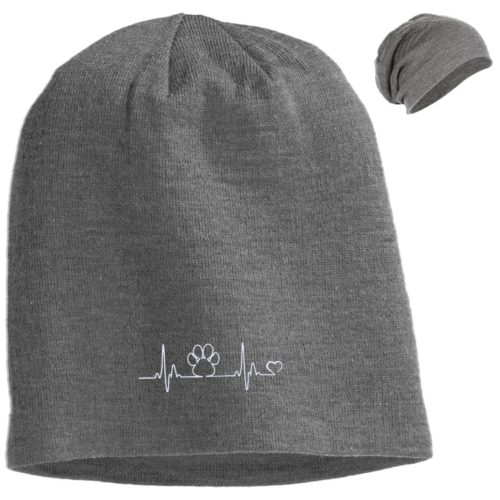 Paw Heartbeat Embroidered Slouch Beanie