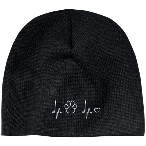 Paw Heartbeat Embroidered Beanie