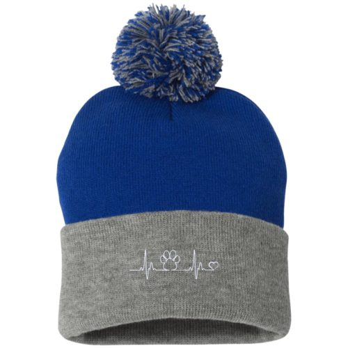 Paw Heartbeat Embroidered Pom Pom Knit Cap