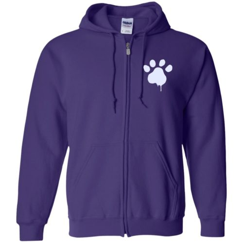 Paint Paw Embroidered Zip Hoodie