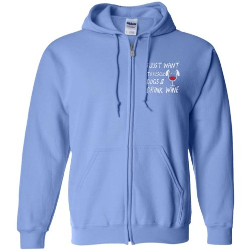 Rescue Dogs & Drink Wine Embroidered Zip Hoodie