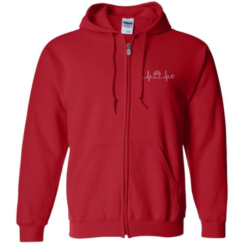Paw Heartbeat Embroidered Zip Hoodie