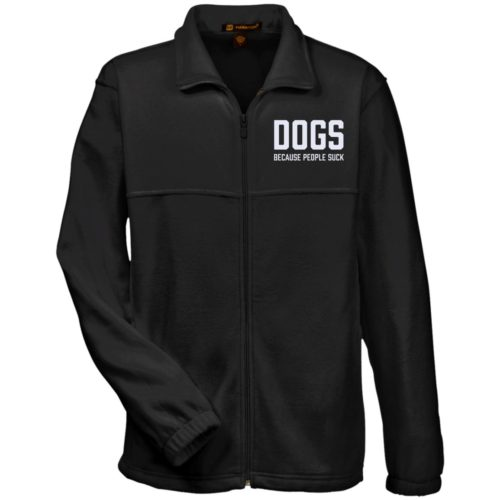 Dogs Because People Suck Embroidered Fleece Full Zip Jacket