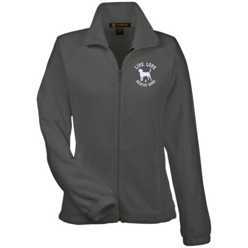 Live, Love, and Rescue Dogs Embroidered Ladies' Fleece Full Zip Jacket