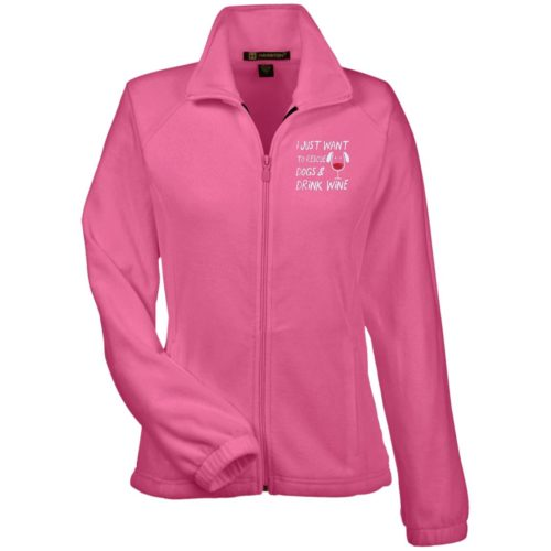 Rescue Dogs & Drink Wine Embroidered Ladies' Fleece Full Zip Jacket