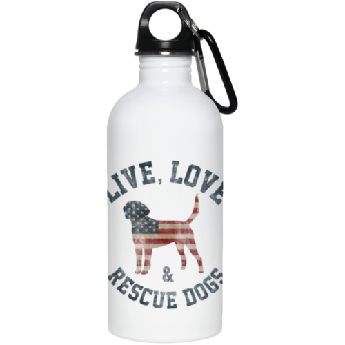 Live, Love & Rescue Dogs Stainless Steel Water Bottle