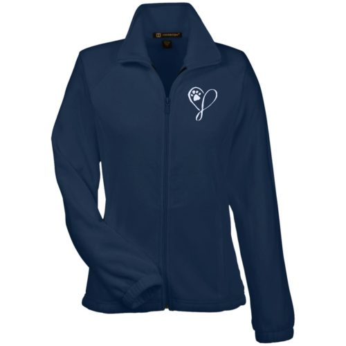Elegant Heart Embroidered Ladies' Fleece Full Zip Jacket