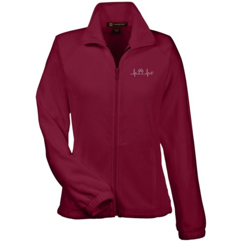 Paw Heartbeat Embroidered Ladies' Fleece Full Zip Jacket