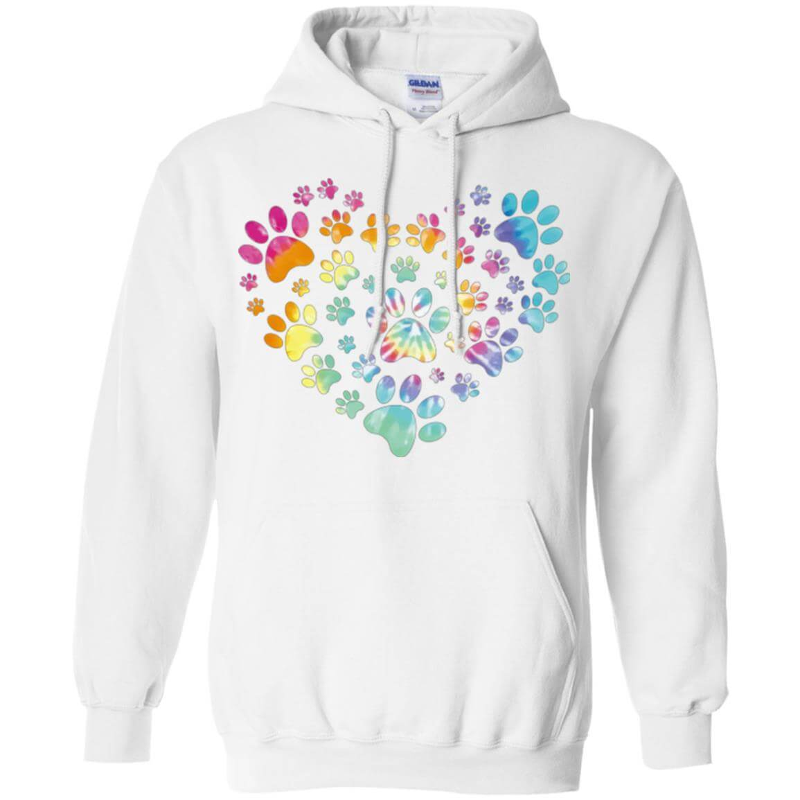 heart paw tie dye pullover hoodie. Black Bedroom Furniture Sets. Home Design Ideas