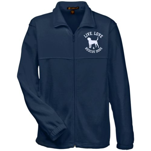 Live, Love, and Rescue Dogs Embroidered Fleece Full Zip Jacket