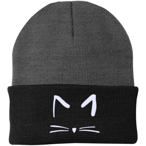Cat Sketch Embroidered Folded Knit Cap