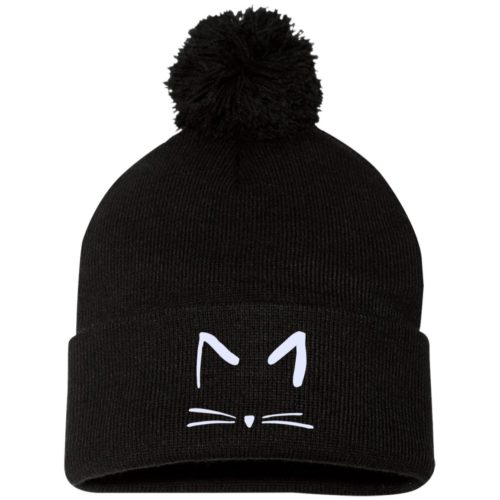 Cat Sketch Embroidered Pom Pom Knit Cap